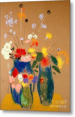 Three Vases Of Flowers Metal Print by Odilon Redon