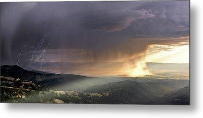 Thunder Shower And Lightning Over Teton Valley Metal Print by Leland D Howard