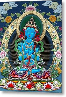 Tibetan Thangka  - Vajradhara -  Dharmakaya Buddha Metal Print by Serge Averbukh