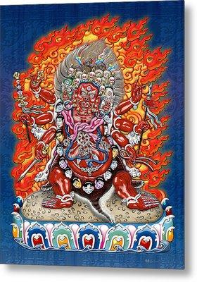Tibetan Thangka  - Wrathful Deity Hayagriva Metal Print by Serge Averbukh