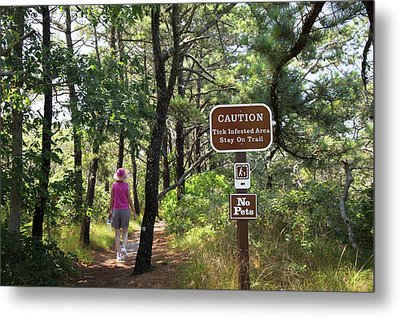 Tick Warning Sign On Hiking Trail Metal Print by Jim West