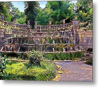 Tiered Fountain Metal Print by Terry Reynoldson