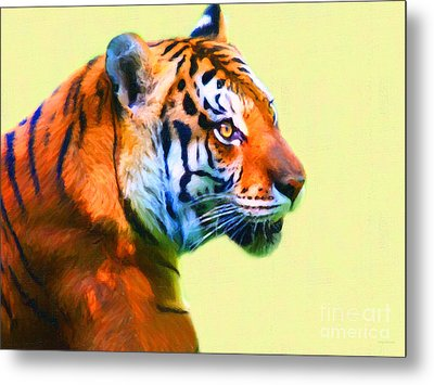 Tiger . 7d2058 . Painterly Metal Print by Wingsdomain Art and Photography