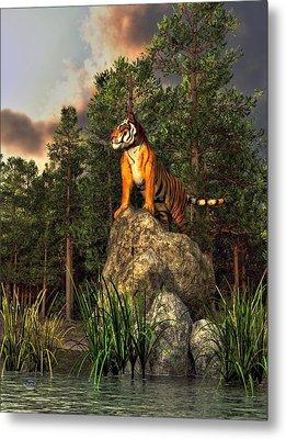 Tiger By The Lake Metal Print by Daniel Eskridge