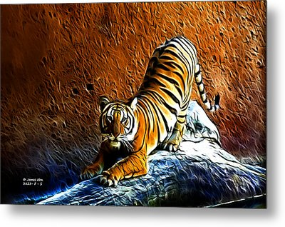 Tiger Pounce -  Fractal - S Metal Print by James Ahn