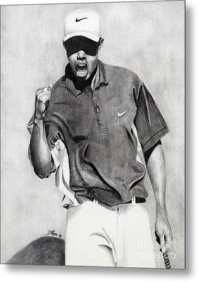 Tiger Woods Pumped Metal Print by Devin Millington