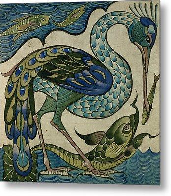 Tile Design Of Heron And Fish Metal Print by Walter Crane