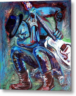 Tim Armstrong And Gretsch  Metal Print by Kat Richey