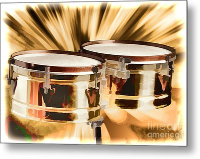 Timbale Drums For Latin Music Painting In Color 3326.02 Metal Print by M K  Miller