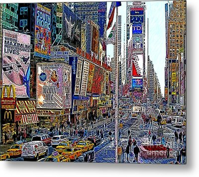 Time Square New York 20130430v2 Metal Print by Wingsdomain Art and Photography