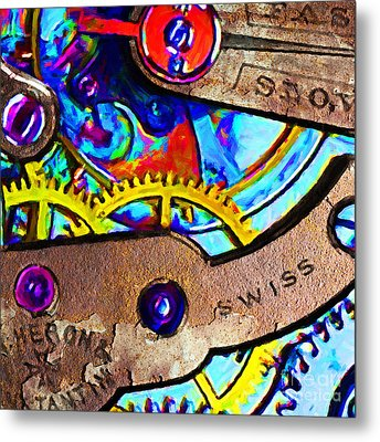Time Waits For Nobody 20130605 Square Metal Print by Wingsdomain Art and Photography