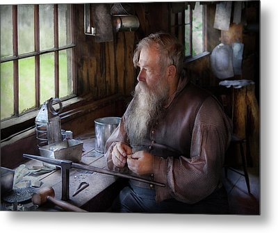 Tin Smith - Making Toys For Children Metal Print by Mike Savad