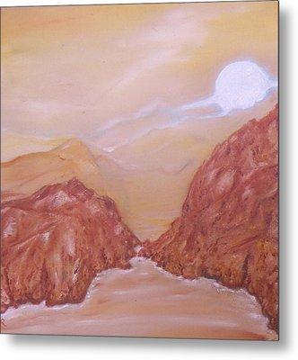Titan -saturn Vi Midnight By A Methane Lake Metal Print by Nicla Rossini