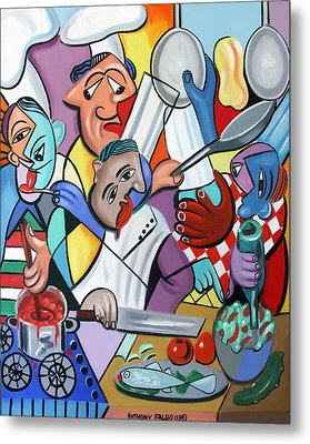 To Many Cooks In The Kitchen Metal Print by Anthony Falbo