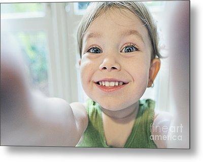 Toddler Selfie Metal Print by Justin Paget