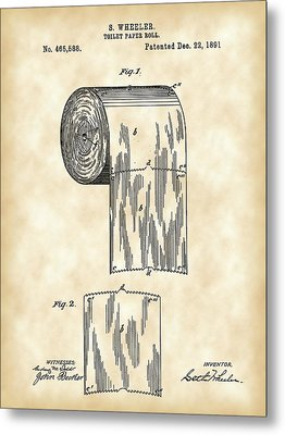 Toilet Paper Roll Patent 1891 - Vintage Metal Print by Stephen Younts