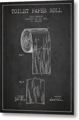 Toilet Paper Roll Patent Drawing From 1891 - Dark Metal Print by Aged Pixel