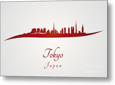 Tokyo Skyline In Red Metal Print by Pablo Romero