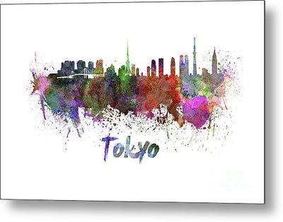 Tokyo Skyline In Watercolor Metal Print by Pablo Romero