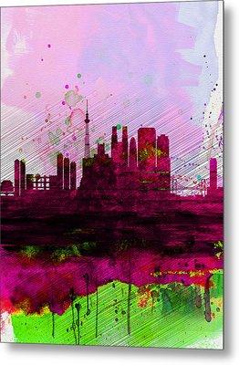 Tokyo Watercolor Skyline Metal Print by Naxart Studio
