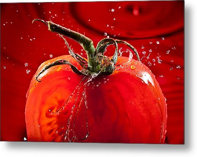 Tomato Freshsplash 2 Metal Print by Steve Gadomski