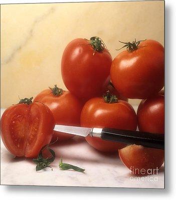 Tomatoes And A Knife Metal Print by Bernard Jaubert