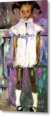 Tonya Was A Shy Girl Child Portrait Metal Print by Ginette Callaway