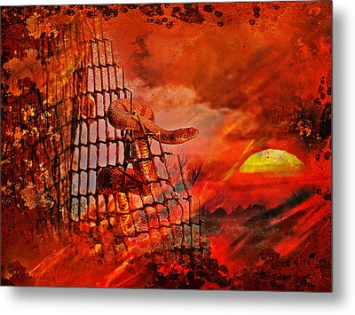Too Hot To Handle-water Moccasin Metal Print by J Larry Walker
