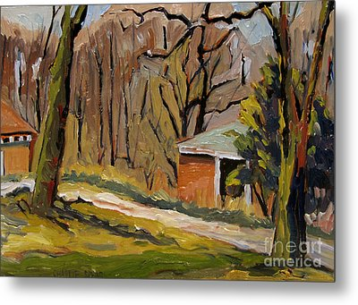 Tool Shed Still Cold Metal Print by Charlie Spear