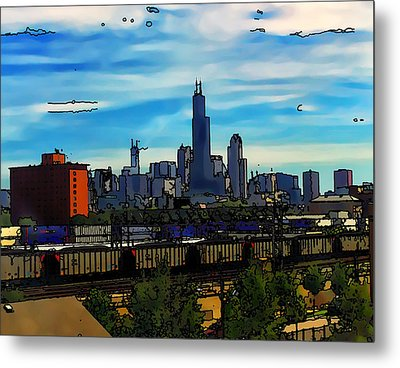 Toon Chicago From The Train Yards Metal Print by Chris Flees