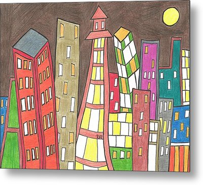 Toon City Scape Metal Print by Ray Ratzlaff