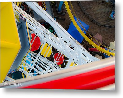 Top Of The Carousel Santa Monica Pier Metal Print by Guinapora Graphics