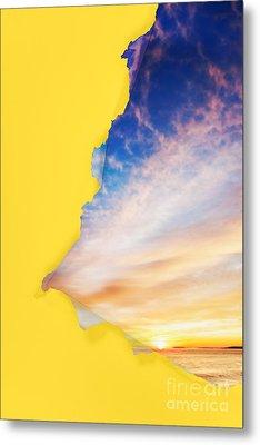 Torn Paper Sunrise Metal Print by Jo Ann Snover
