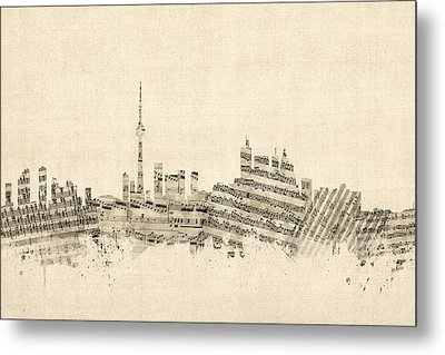 Toronto Canada Skyline Sheet Music Cityscape Metal Print by Michael Tompsett