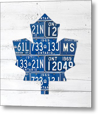 Toronto Maple Leafs Hockey Team Retro Logo Vintage Recycled Ontario Canada License Plate Art Metal Print by Design Turnpike