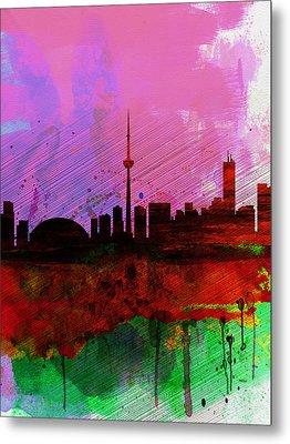 Toronto Watercolor Skyline Metal Print by Naxart Studio