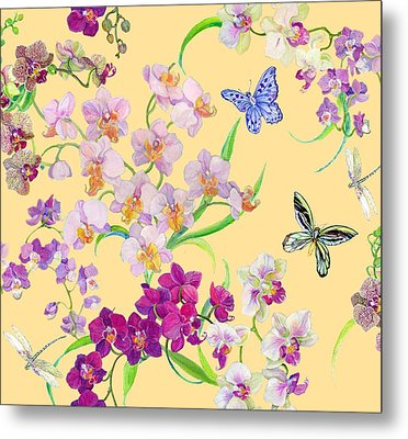 Tossed Orchids Metal Print by Kimberly McSparran