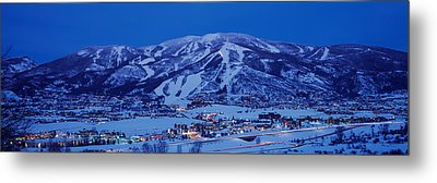 Tourists At A Ski Resort, Mt Werner Metal Print by Panoramic Images