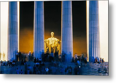 Tourists At Lincoln Memorial Metal Print by Panoramic Images