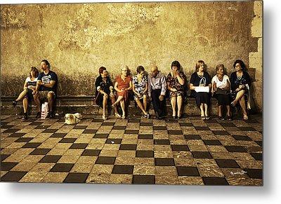 Tourists On Bench - Taormina - Sicily Metal Print by Madeline Ellis