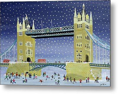 Tower Bridge Skating On Thin Ice Metal Print by Judy Joel