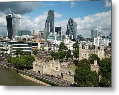 Tower Of London And City Skyscrapers Metal Print by Mark Thomas