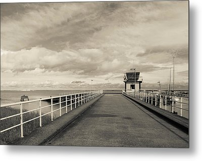 Town Pier On The Gironde River Metal Print by Panoramic Images