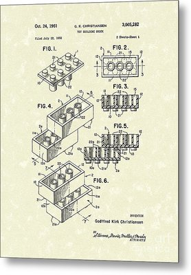 Toy Building Brick 1961 Patent Art Metal Print by Prior Art Design