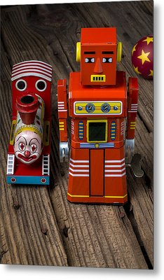 Toy Robot And Train Metal Print by Garry Gay