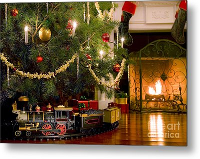 Toy Train Under The Christmas Tree Metal Print by Diane Diederich