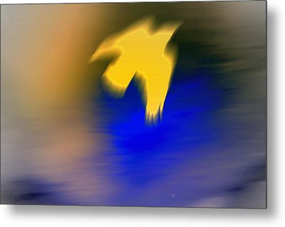 A Yellow Trace Of A Bird Flying Away  Metal Print by Hilde Widerberg