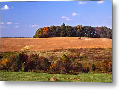 Tractor After The Harvest Metal Print by Jerry Tompkins