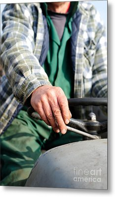 Tractor Driver. Metal Print by Ian  Francis