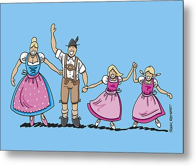 Traditional Bavarian Family With Two Daughters Metal Print by Frank Ramspott
